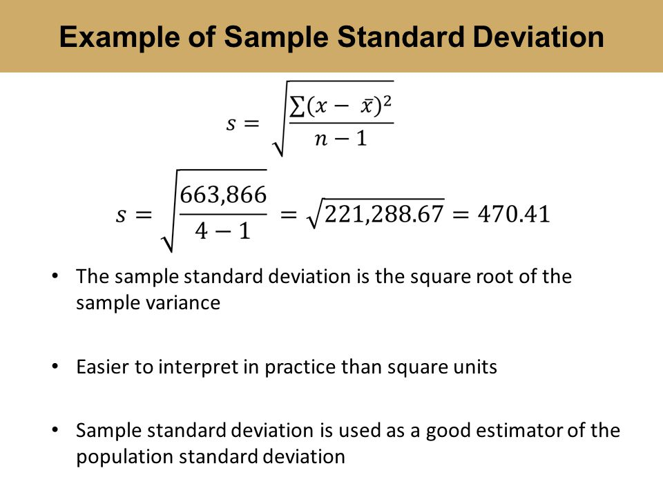Example of Sample Standard Deviation