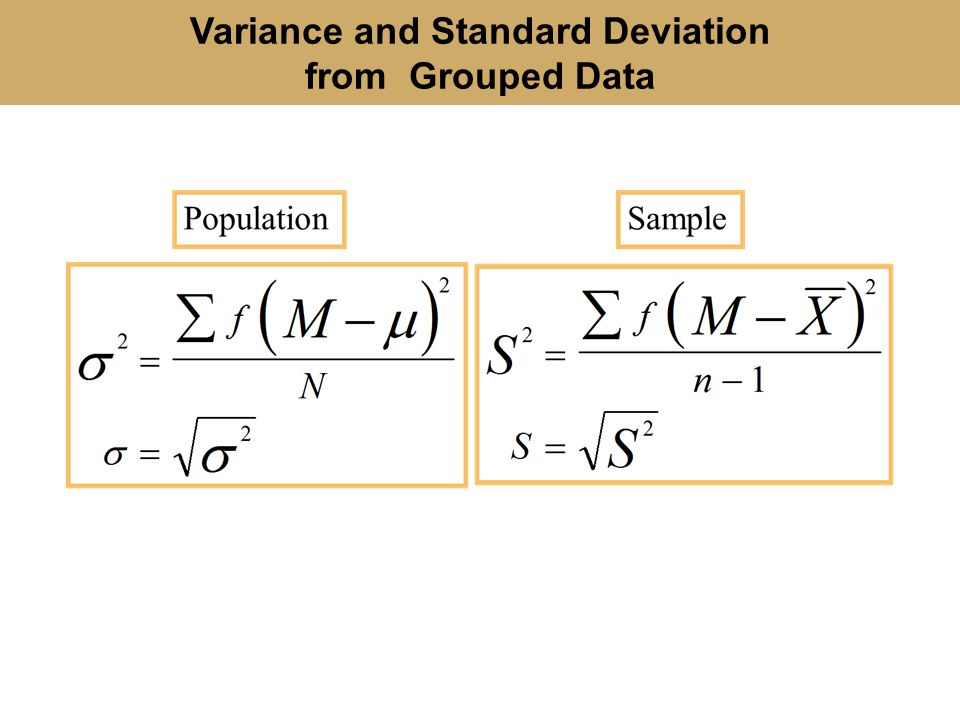 grouped data standard deviation and variance relationship