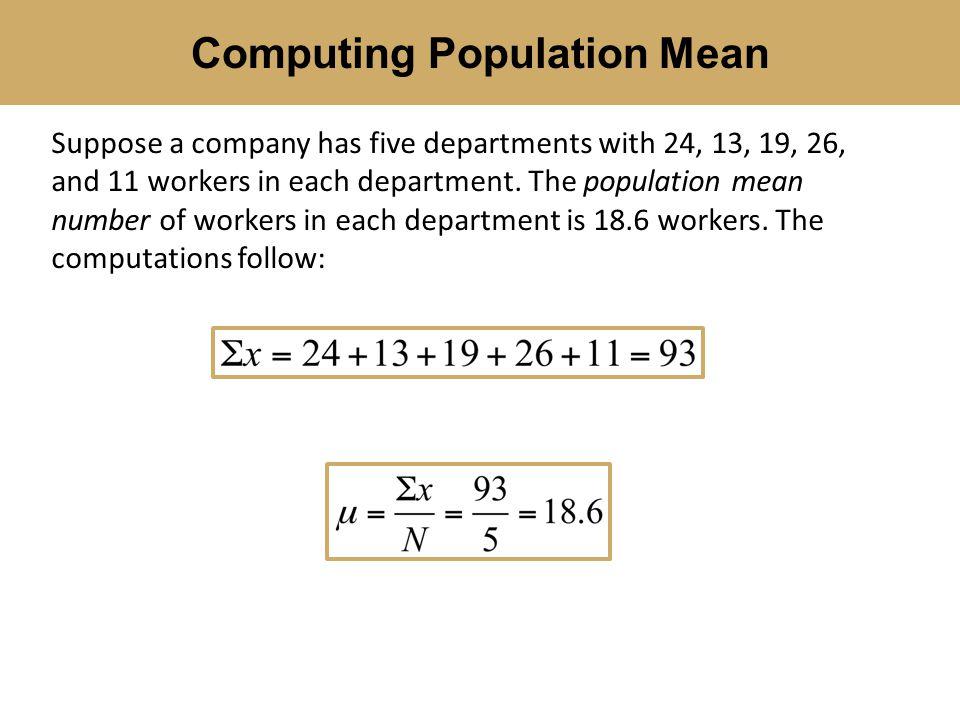 Computing Population Mean