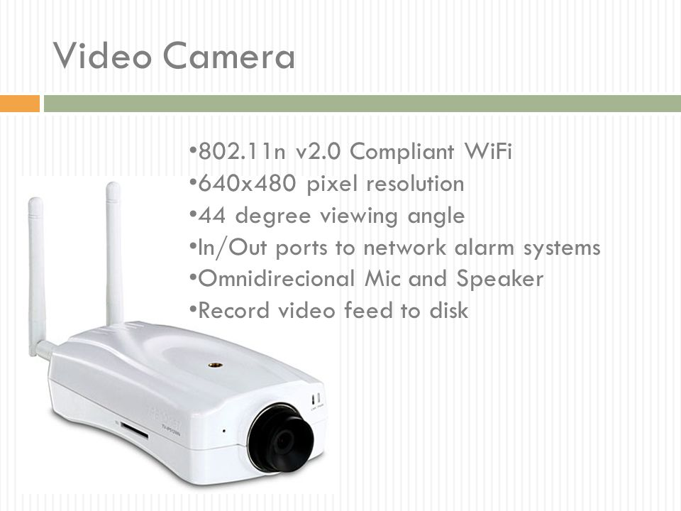 Video Camera 802.11n v2.0 Compliant WiFi 640x480 pixel resolution