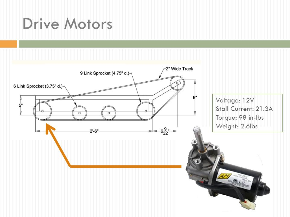 Drive Motors Voltage: 12V Stall Current: 21.3A Torque: 98 in-lbs