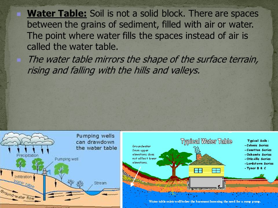 Water Table: Soil is not a solid block