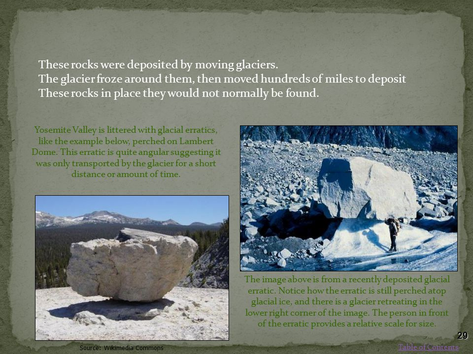 These rocks were deposited by moving glaciers.