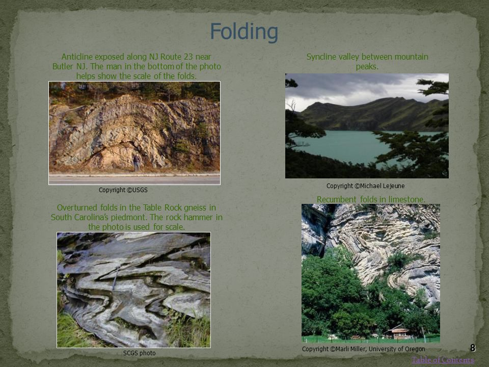 Folding Copyright ©USGS. Anticline exposed along NJ Route 23 near Butler NJ. The man in the bottom of the photo helps show the scale of the folds.