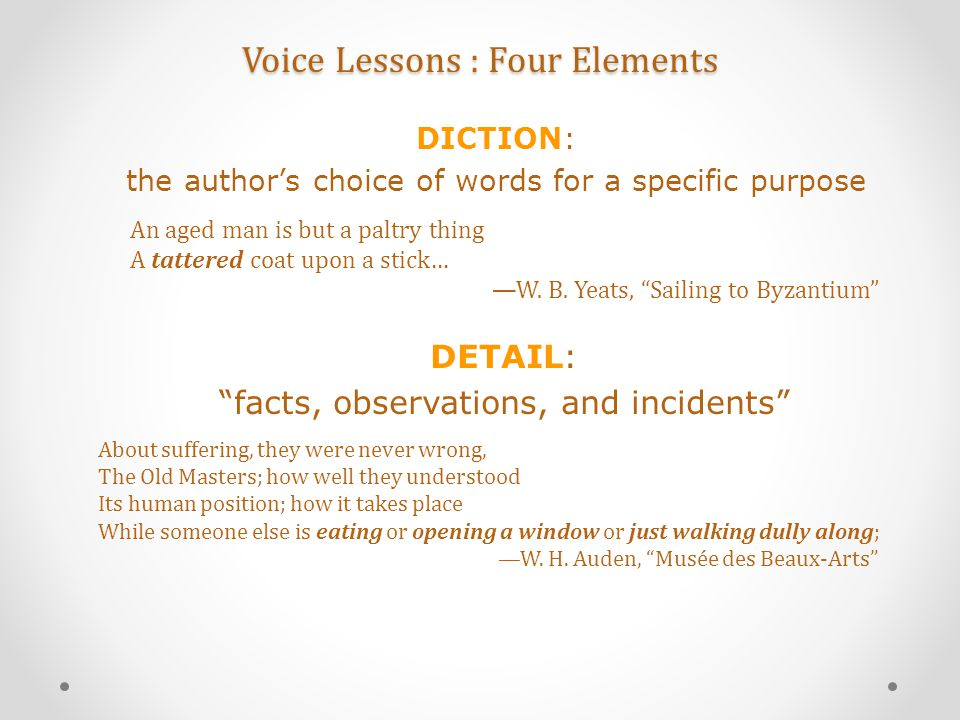 Voice Lessons : Four Elements