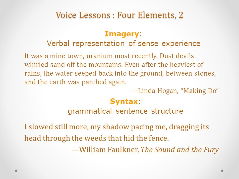 Voice Lessons : Four Elements, 2