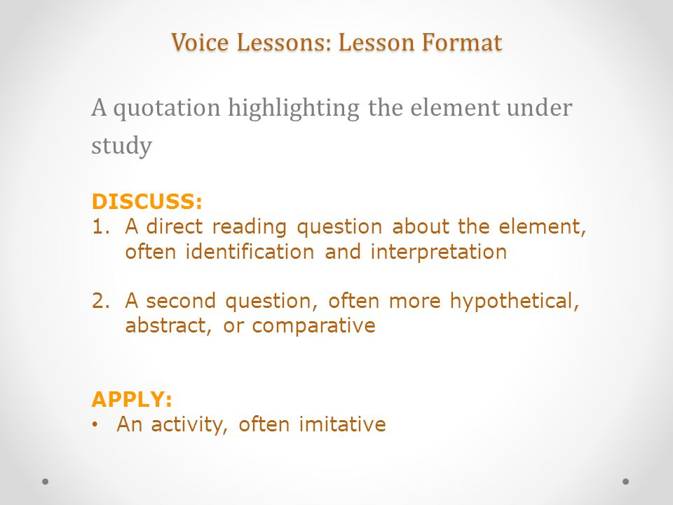 Voice Lessons: Lesson Format