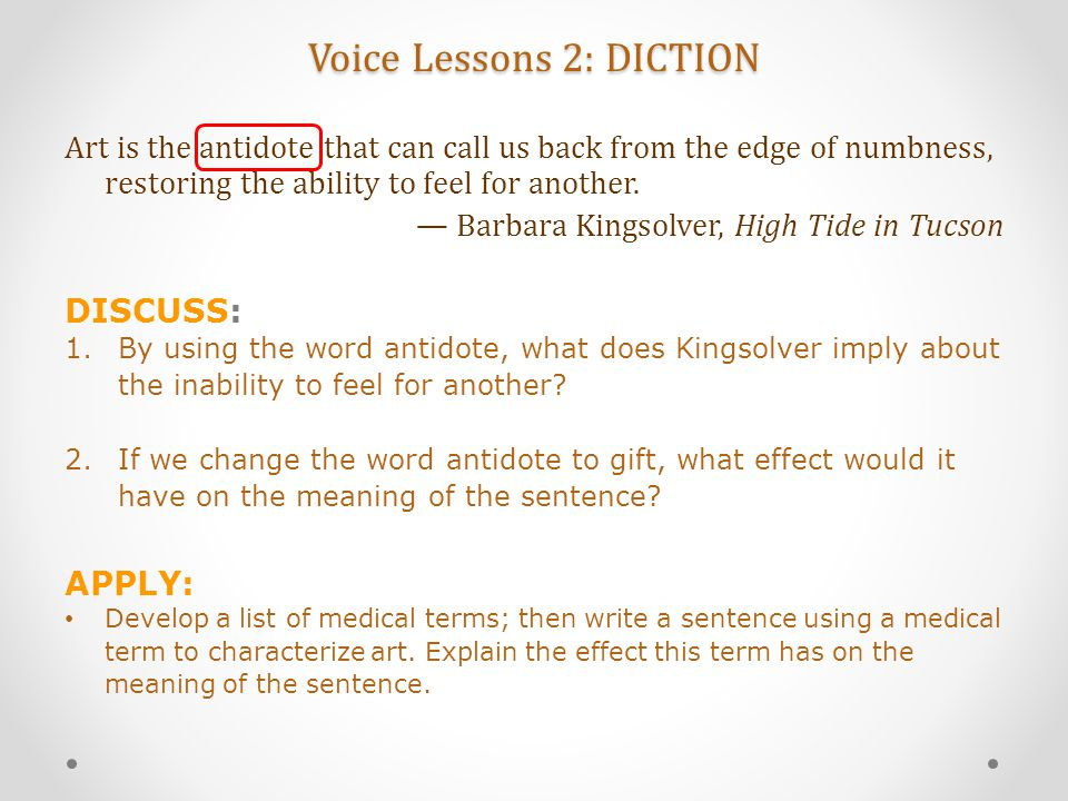 Voice Lessons 2: DICTION