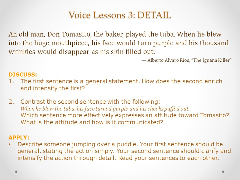 Voice Lessons 3: DETAIL