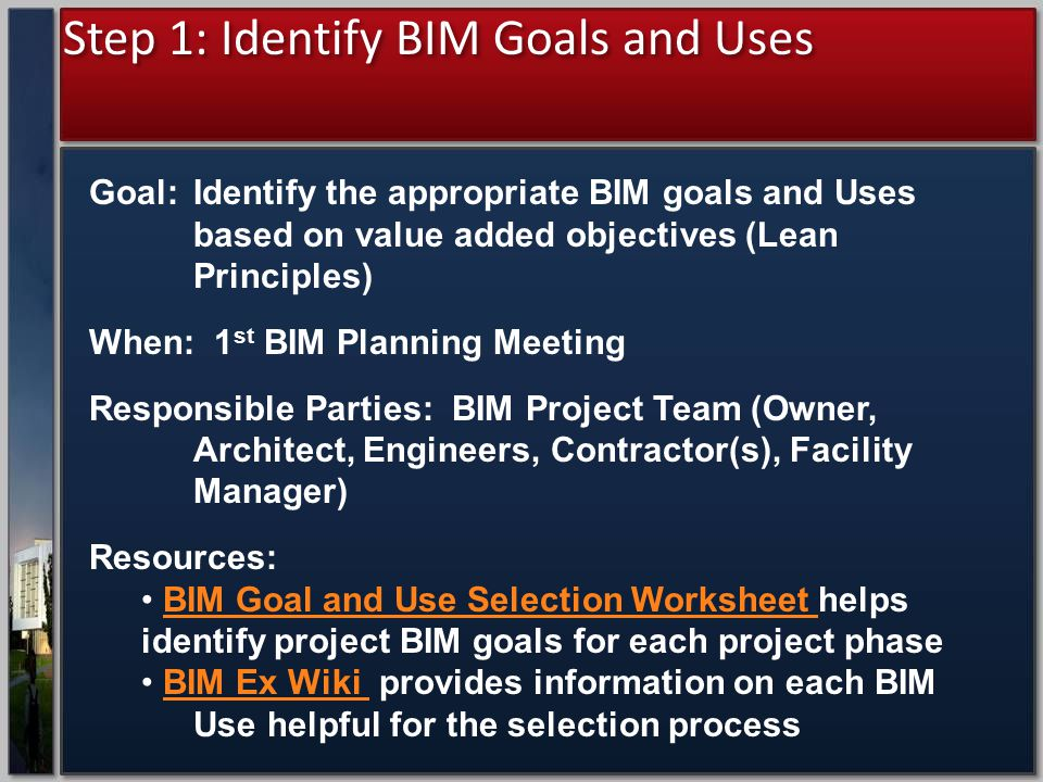 Step 1: Identify BIM Goals and Uses