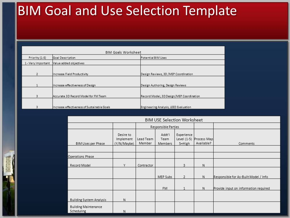BIM Goal and Use Selection Template