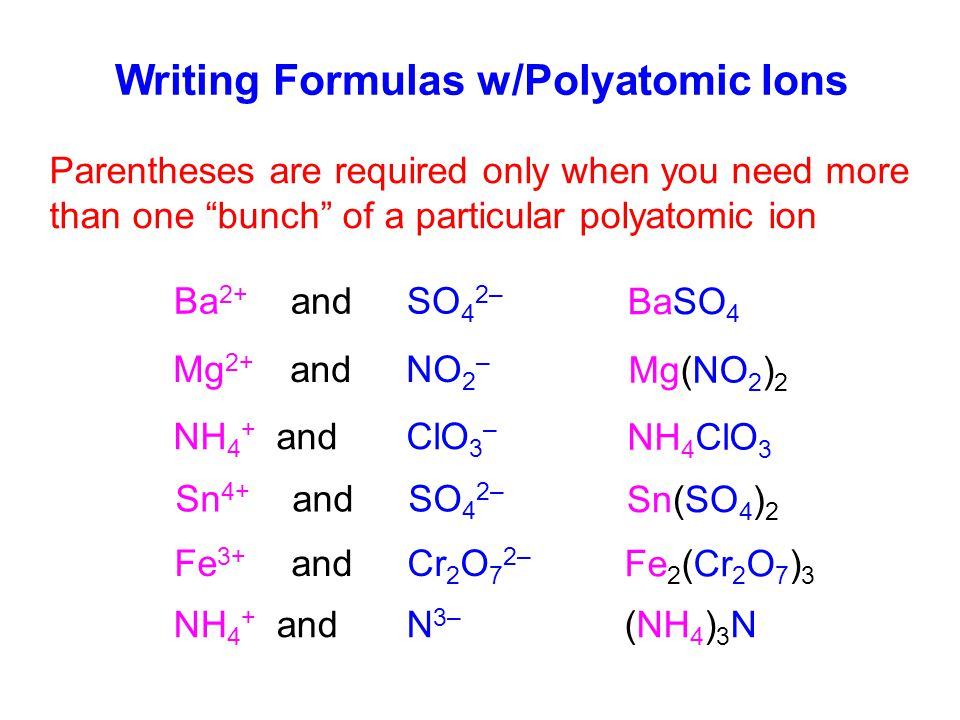 Writing Formulas w/Polyatomic Ions