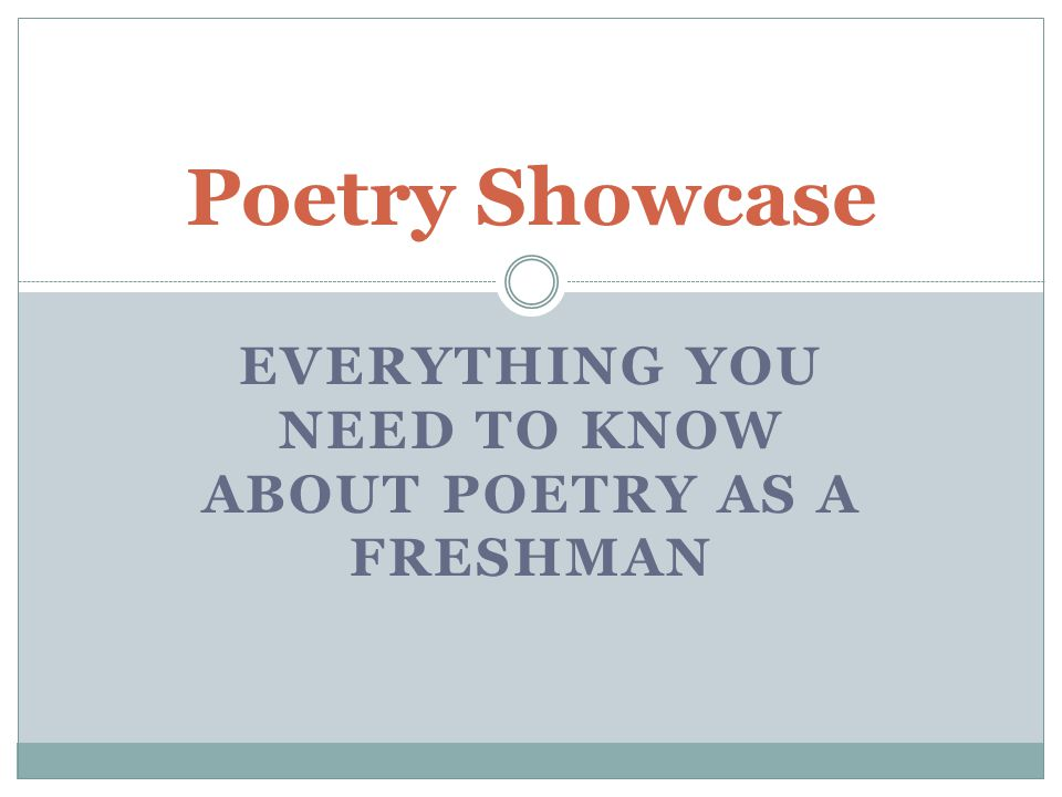 Everything you need to know about poetry as a freshman
