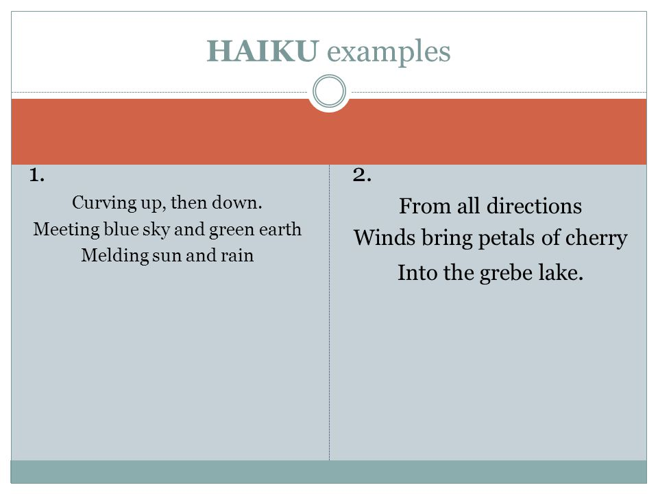 HAIKU examples 1. 2. From all directions Winds bring petals of cherry