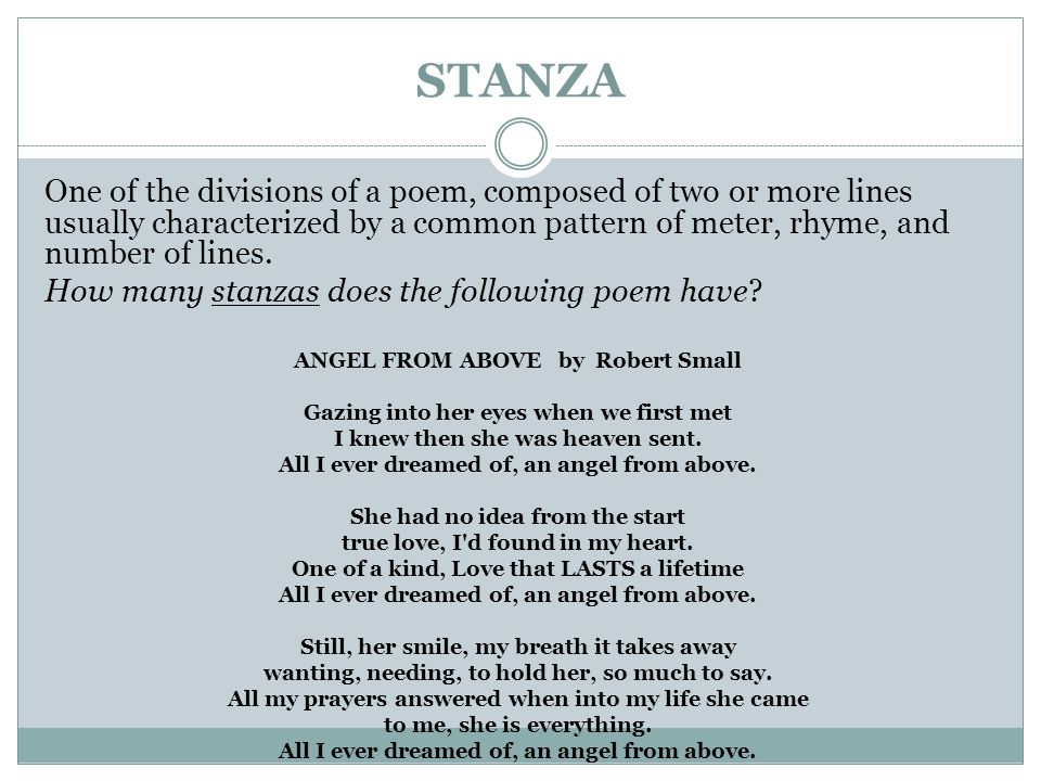 STANZA One of the divisions of a poem, composed of two or more lines usually characterized by a common pattern of meter, rhyme, and number of lines.
