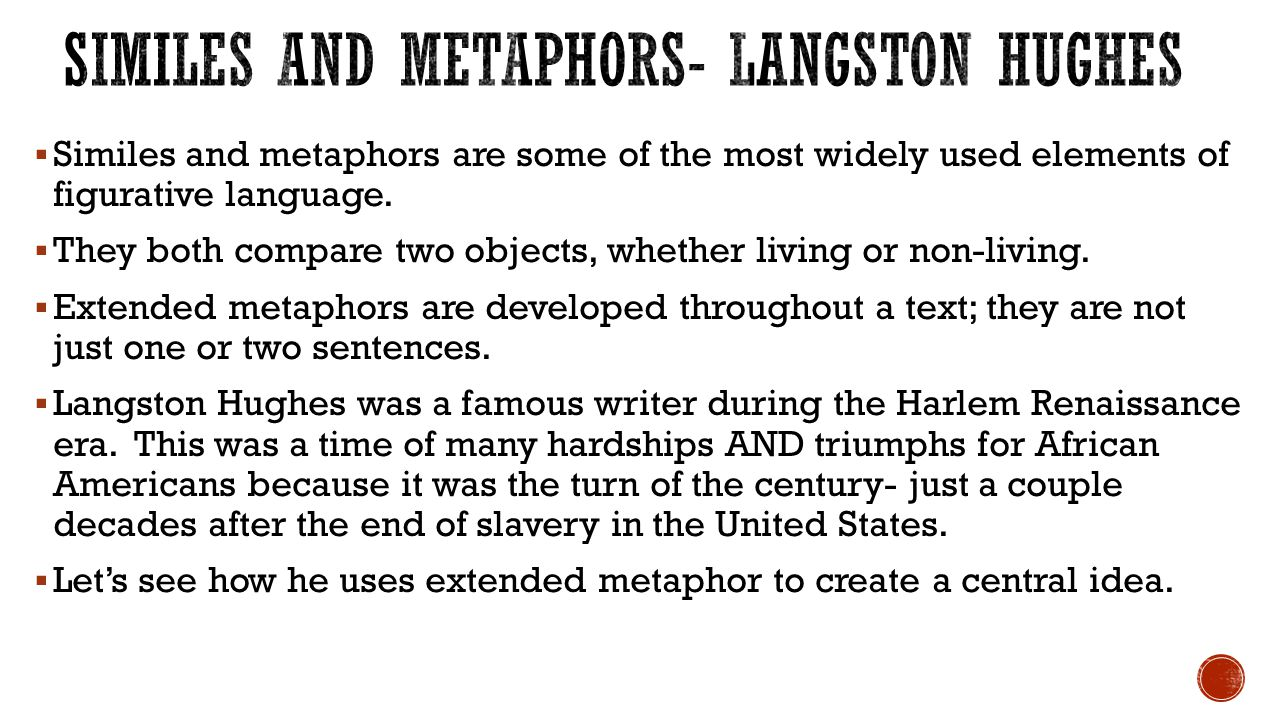 Similes and Metaphors- Langston Hughes