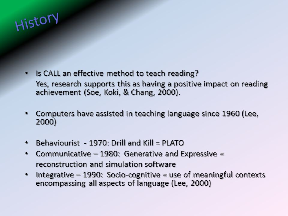 History Is CALL an effective method to teach reading