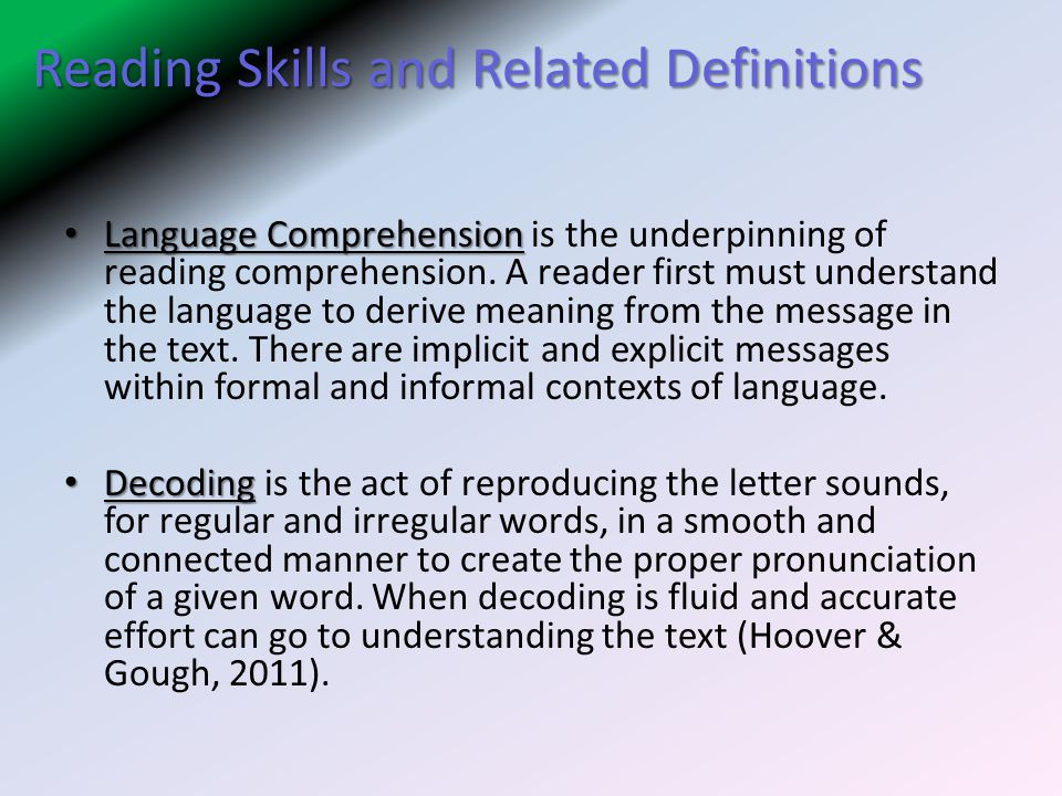 Reading Skills and Related Definitions