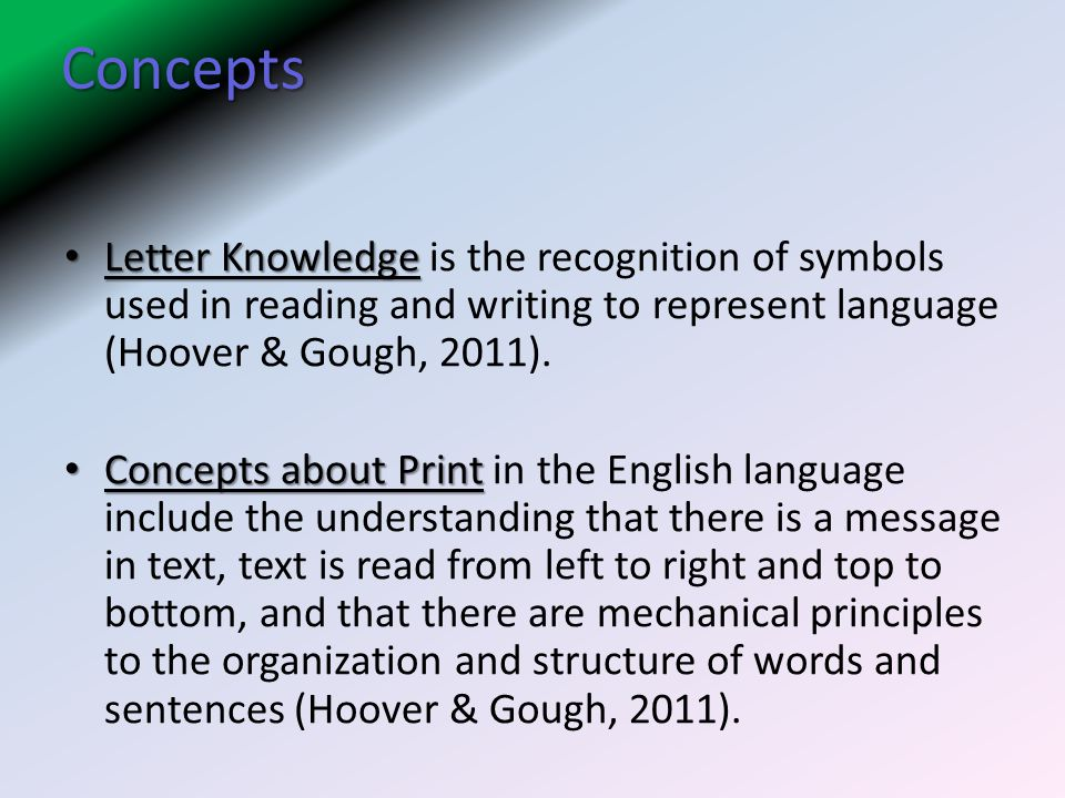 Concepts Letter Knowledge is the recognition of symbols used in reading and writing to represent language (Hoover & Gough, 2011).