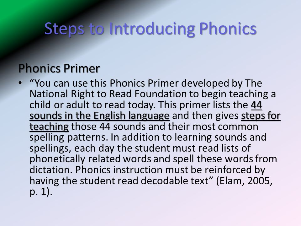 Steps to Introducing Phonics