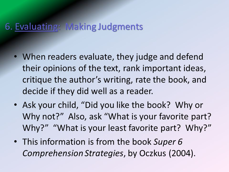 6. Evaluating: Making Judgments