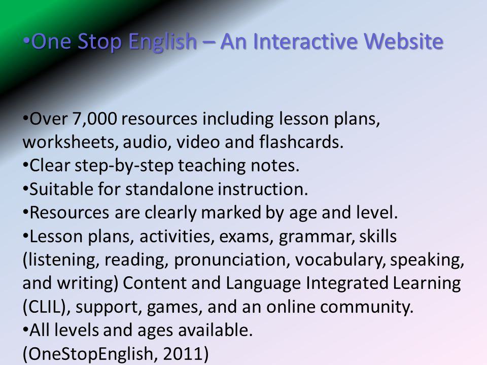 One Stop English – An Interactive Website
