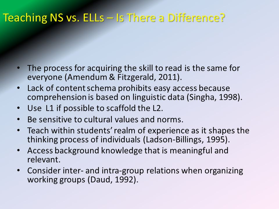 Teaching NS vs. ELLs – Is There a Difference