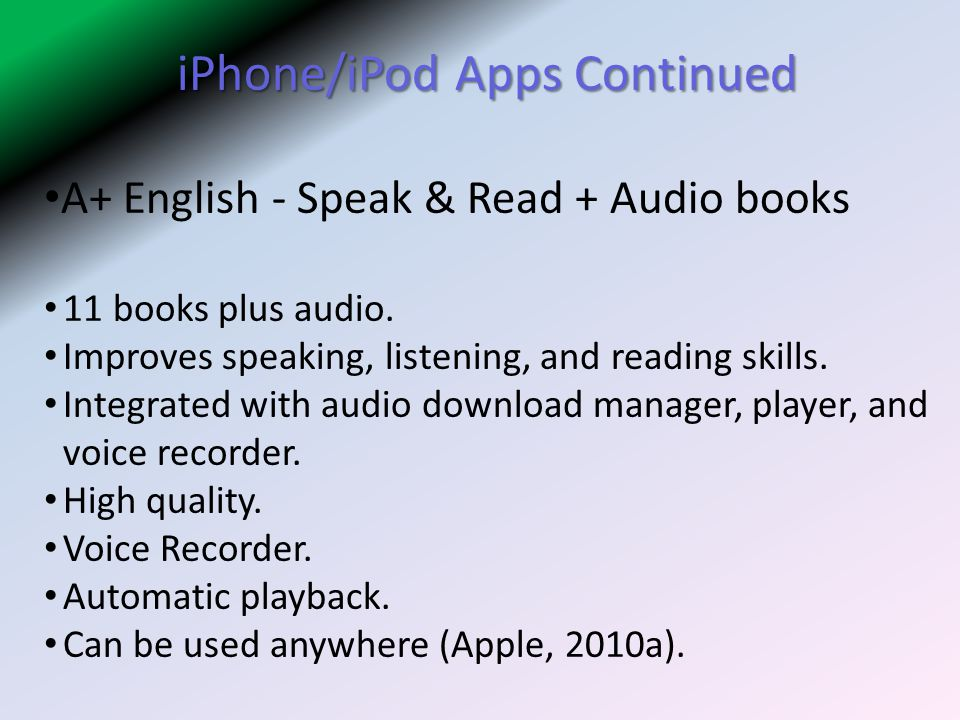 iPhone/iPod Apps Continued