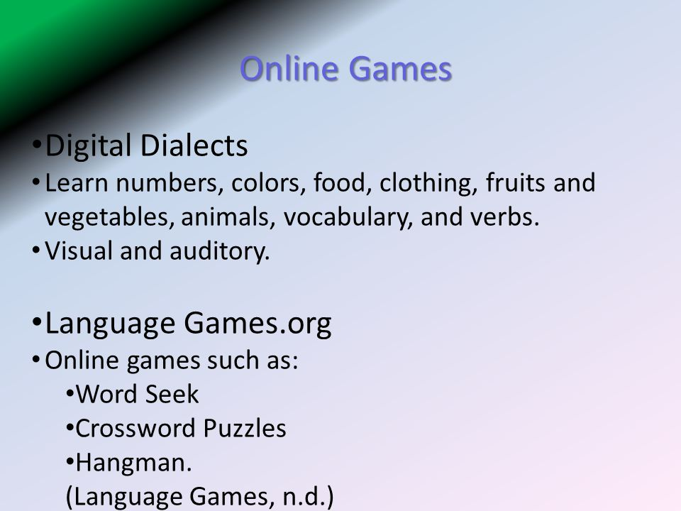 Online Games Digital Dialects Language Games.org