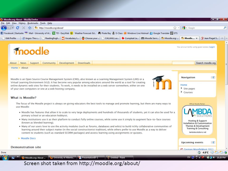 Screen shot taken from http://moodle.org/about/