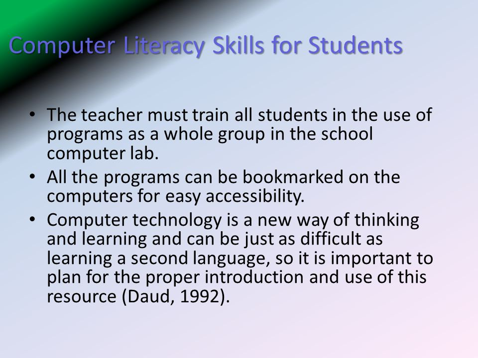 Computer Literacy Skills for Students