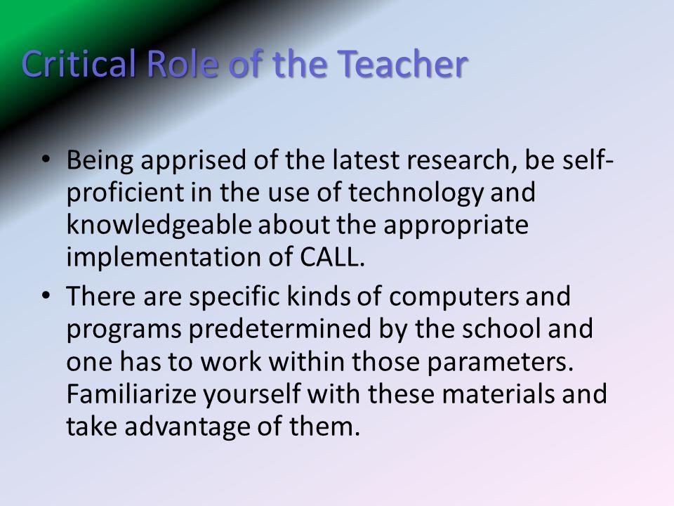Critical Role of the Teacher