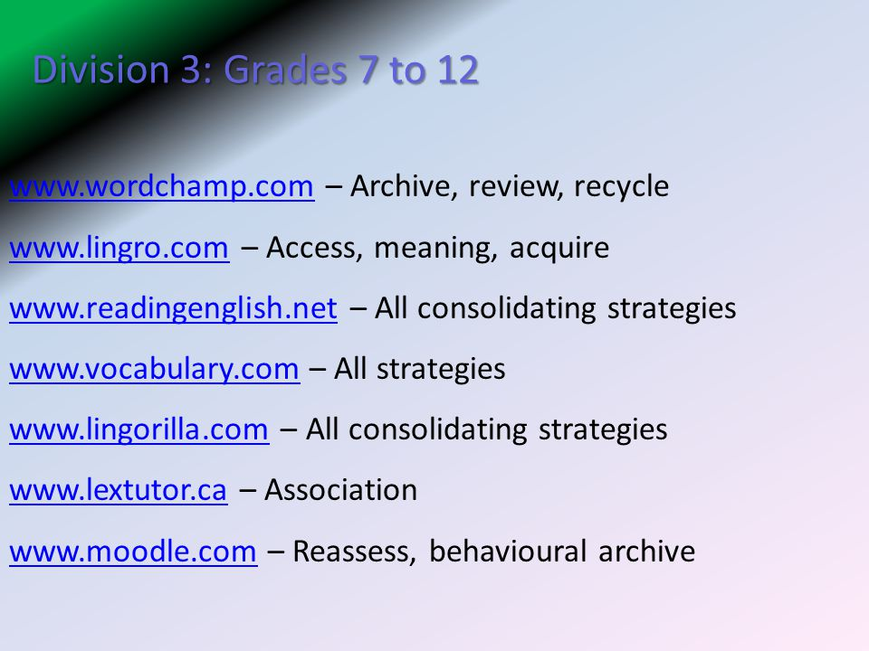 Division 3: Grades 7 to 12 www.wordchamp.com – Archive, review, recycle. www.lingro.com – Access, meaning, acquire.