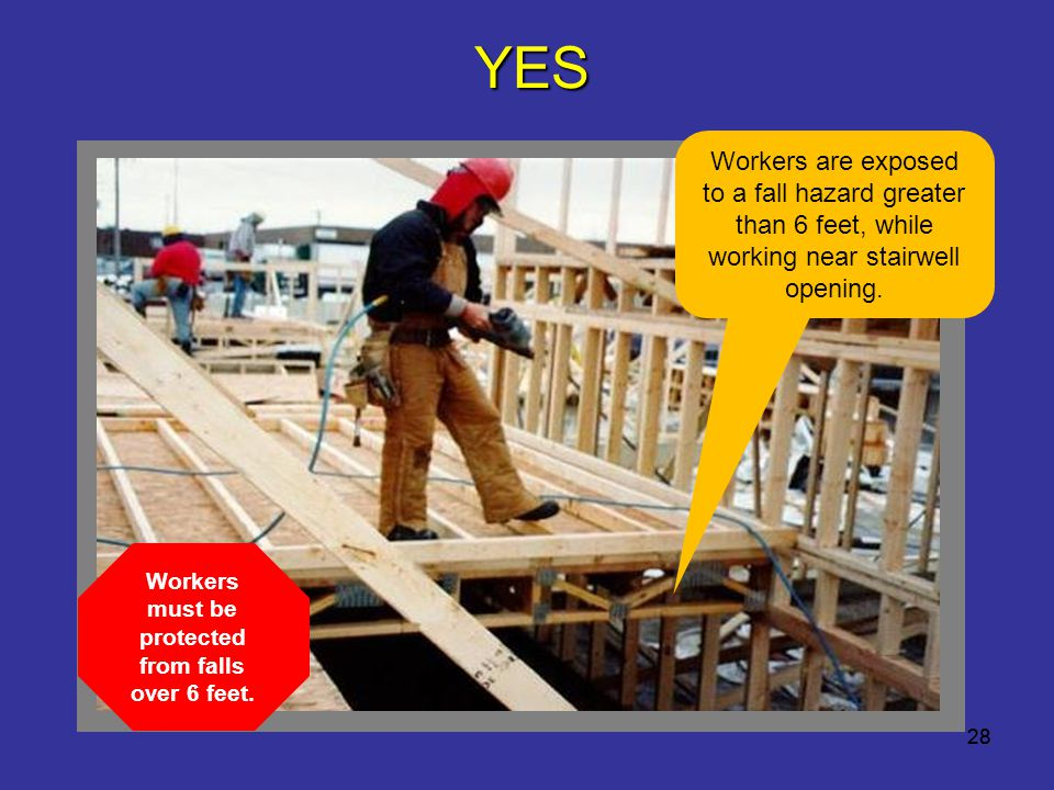 Workers must be protected from falls over 6 feet.