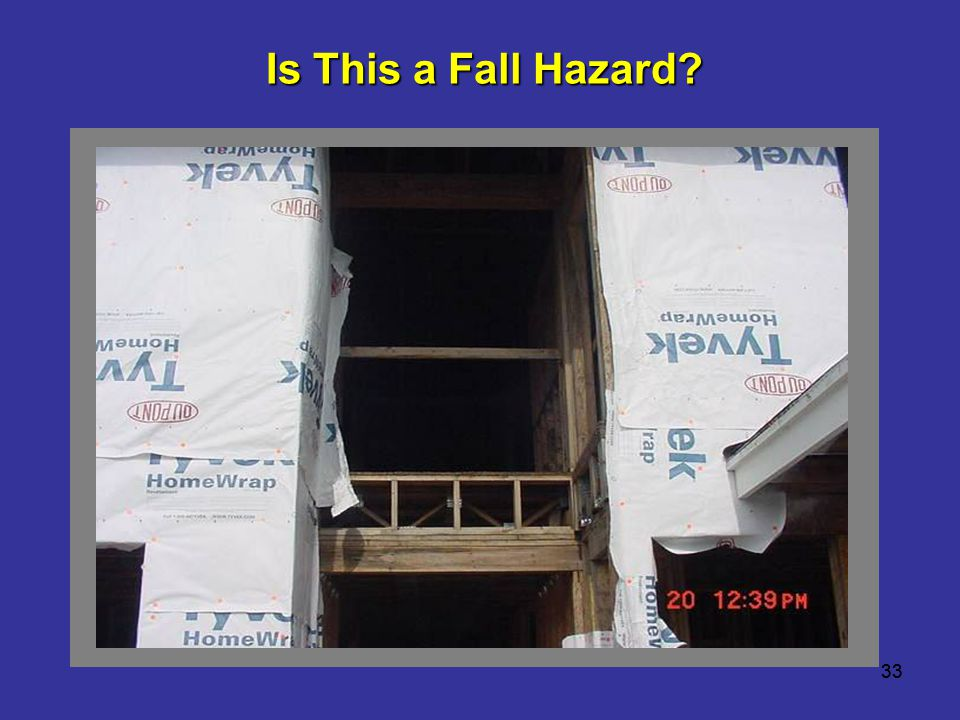 Is This a Fall Hazard This is 12 feet above the lower level. 33 33