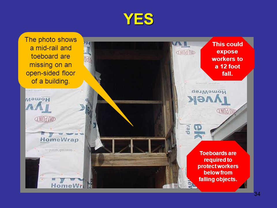 YES The photo shows a mid-rail and toeboard are missing on an open-sided floor of a building. This could expose workers to a 12 foot fall.