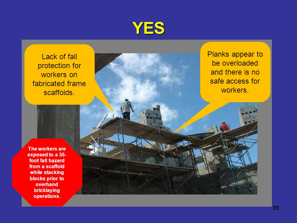 Lack of fall protection for workers on fabricated frame scaffolds.