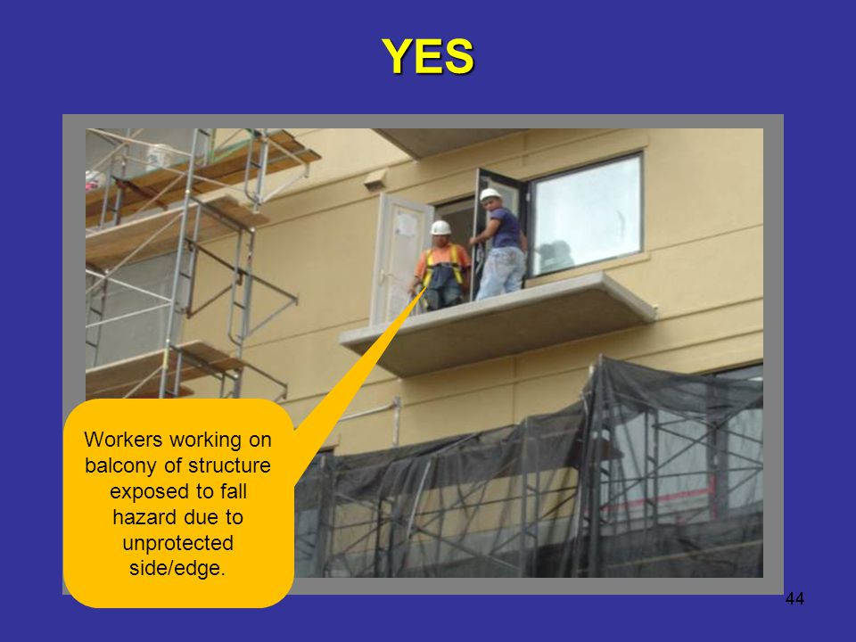 YES Workers working on balcony of structure exposed to fall hazard due to unprotected side/edge.