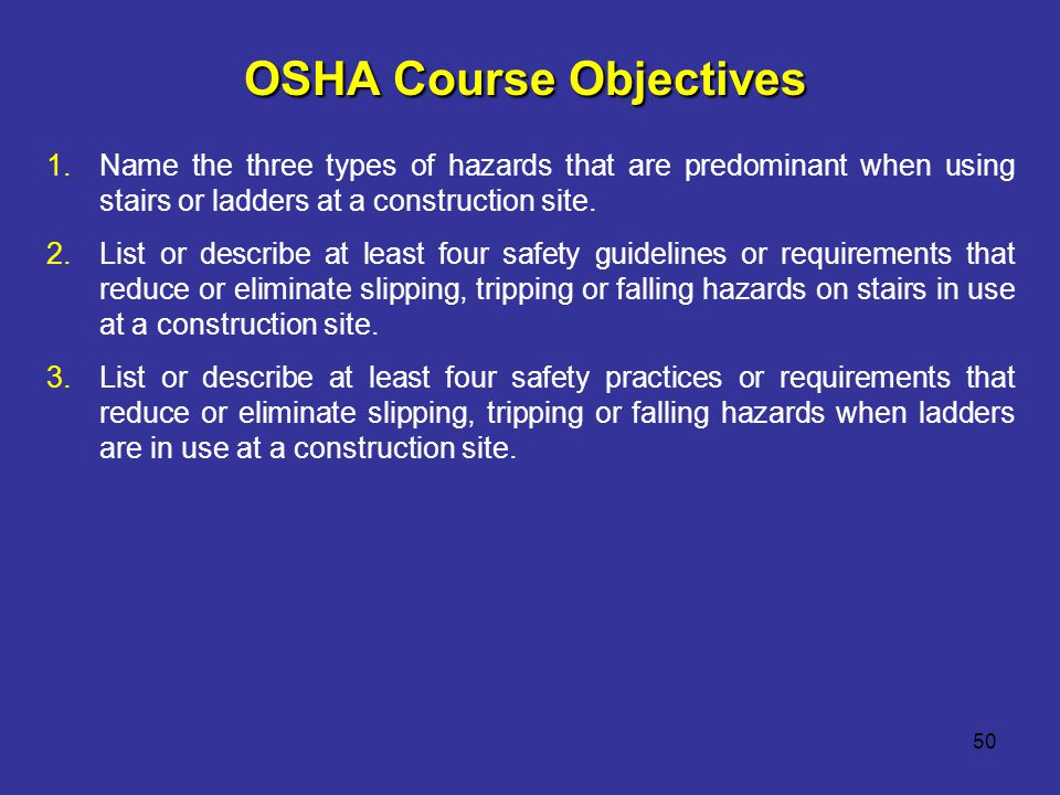 OSHA Course Objectives