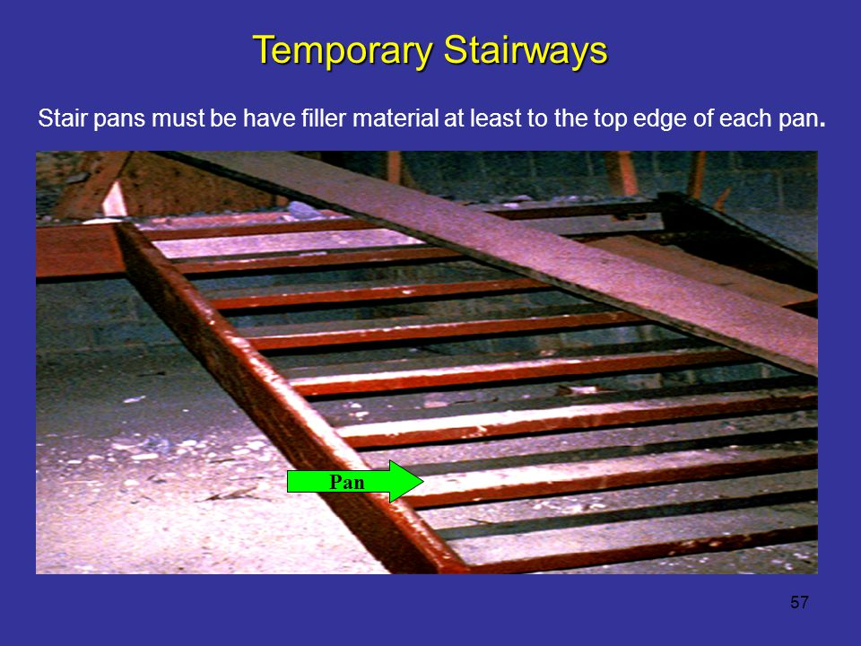 Temporary Stairways Stair pans must be have filler material at least to the top edge of each pan. Reference 1926.1052(b)(1)