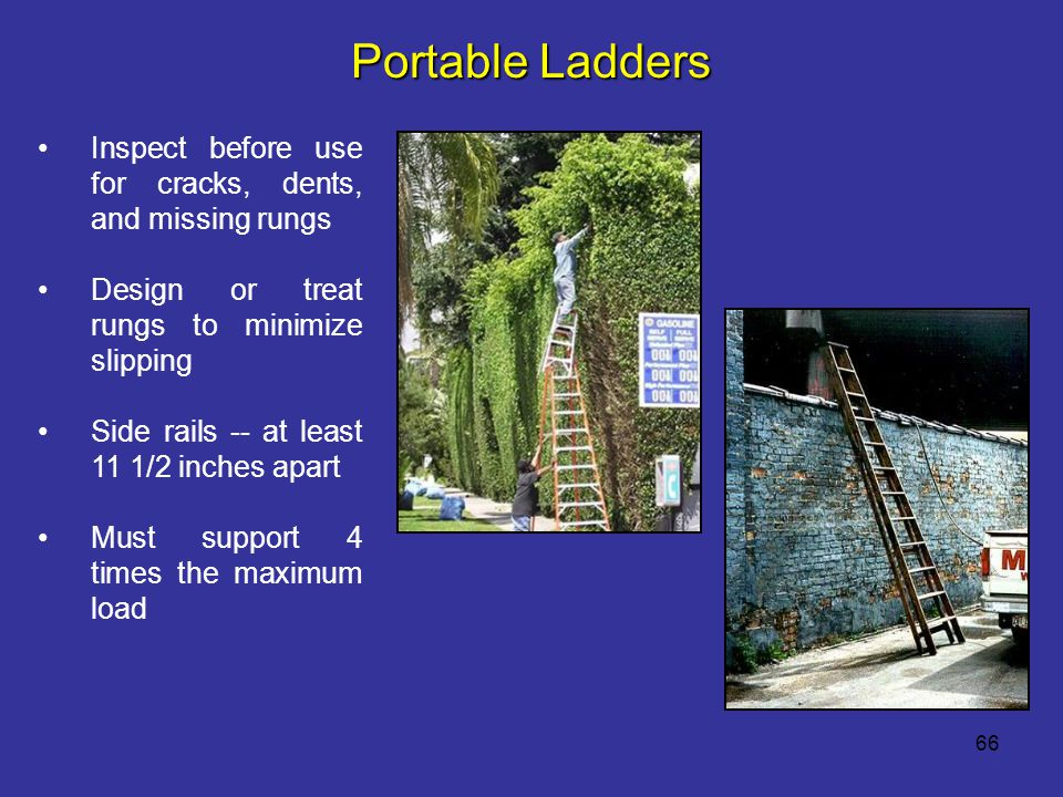 Portable Ladders Inspect before use for cracks, dents, and missing rungs. Design or treat rungs to minimize slipping.