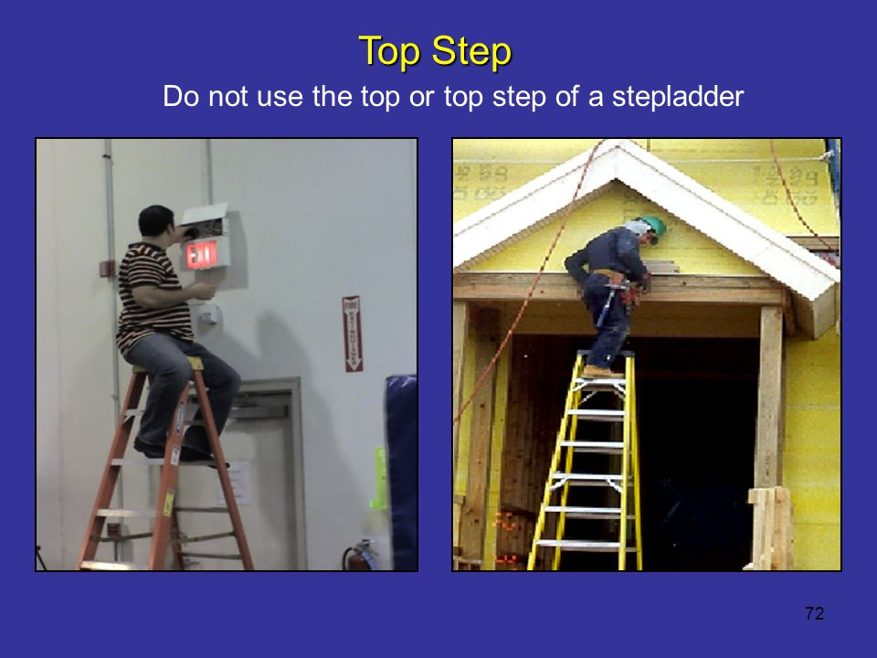 Do not use the top or top step of a stepladder