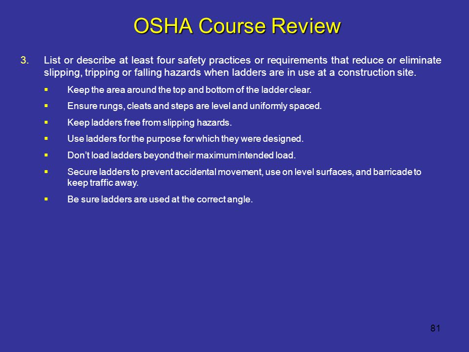 OSHA Course Review