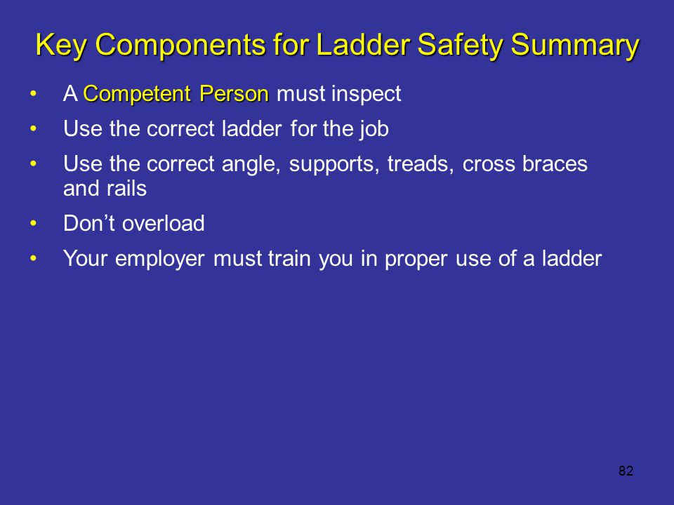 Key Components for Ladder Safety Summary