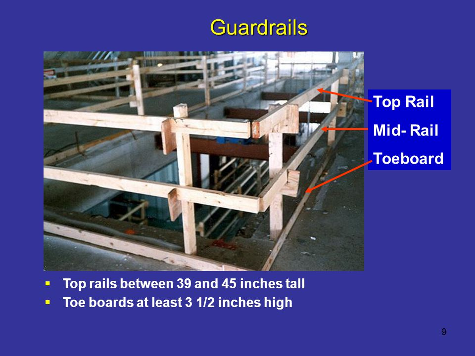 Guardrails Top Rail Mid- Rail Toeboard
