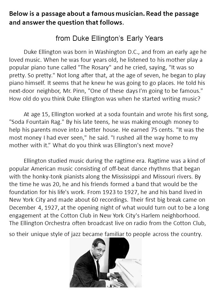 from Duke Ellington's Early Years
