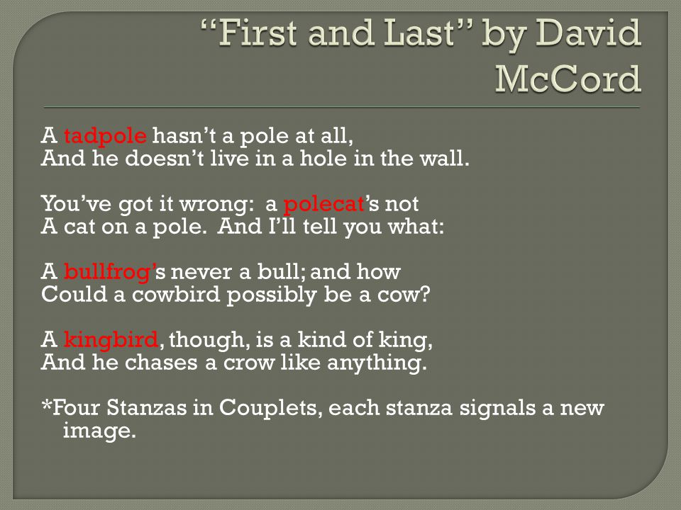 First and Last by David McCord