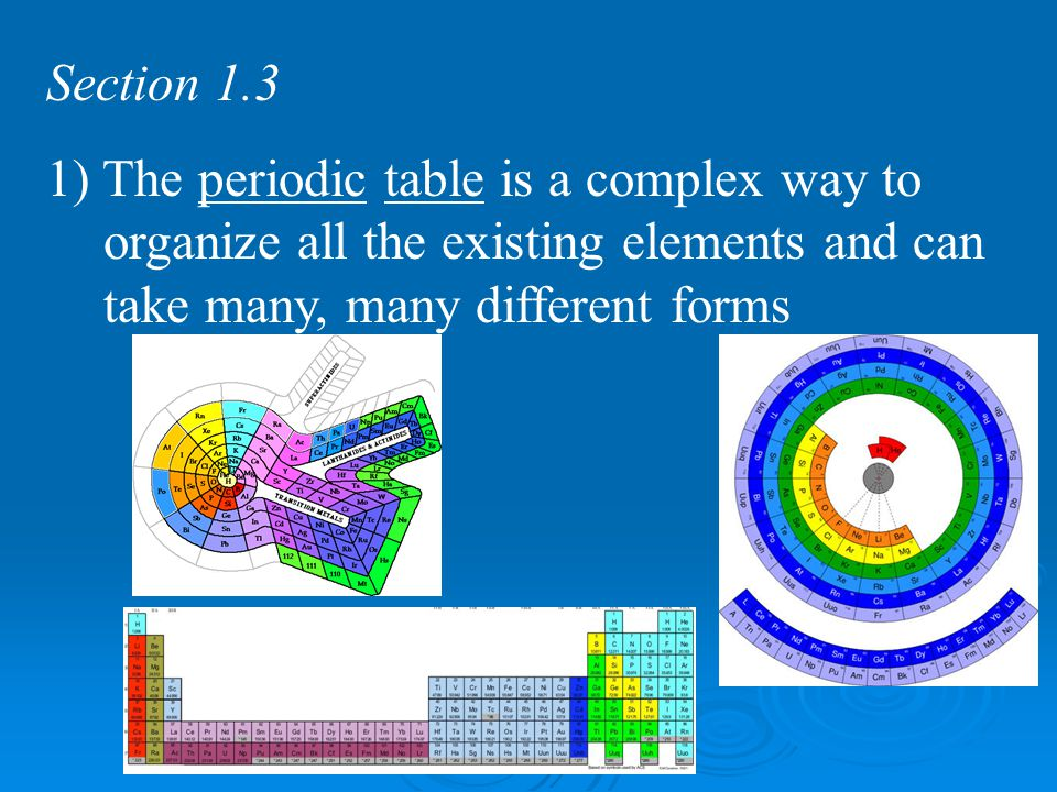 Section 1.3 1) The periodic table is a complex way to organize all the existing elements and can take many, many different forms.