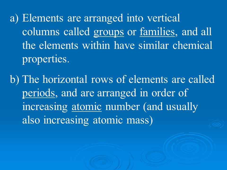 Elements are arranged into vertical columns called groups or families, and all the elements within have similar chemical properties.