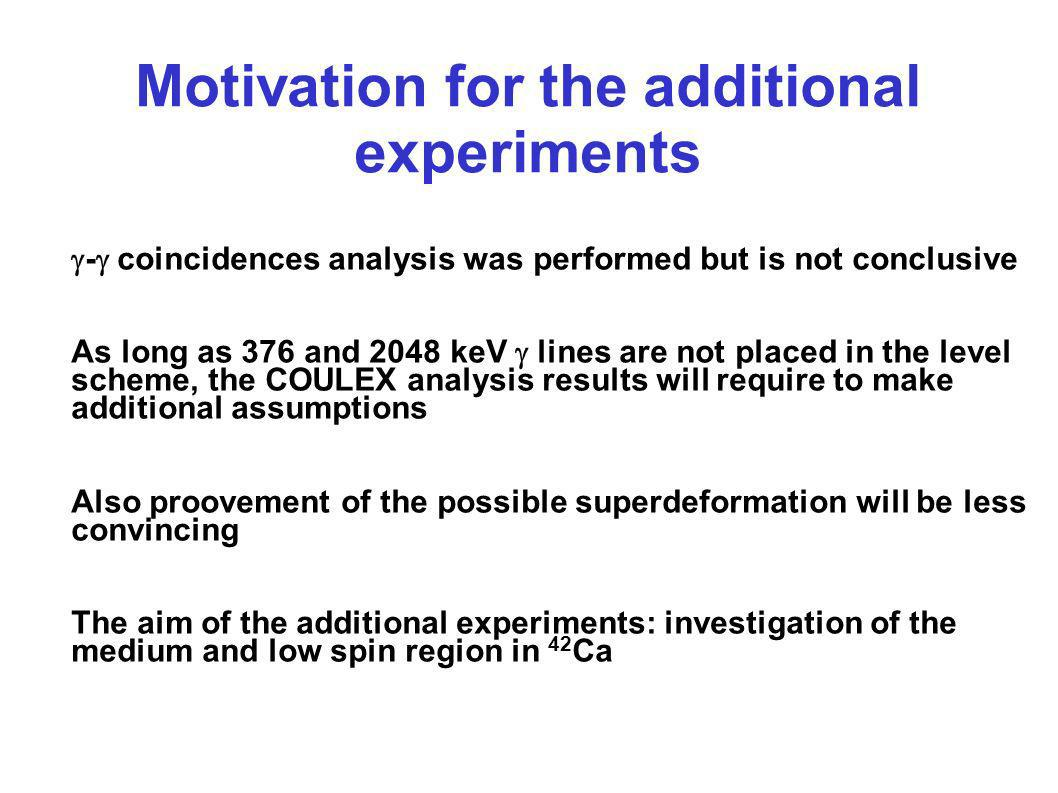Motivation for the additional experiments